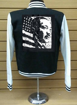 Martin Luther King Letterman Varsity Collage Baseball BLACK/WHITE Fleece Jacket - $29.69+