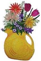 Custom and Unique Spring Blooms With Vase[Pitcher Of Flowers] Embroidere... - $14.84
