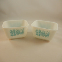 Lot of 2 Pyrex Turquoise Amish Butterprint Refrigerator Fridgies #501 No Lids - $19.79