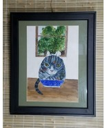 CAT BEHIND FISHBOWL ORIGINAL WATERCOLOR  PAINTING BY ASTRID MARTINDALE 1... - $245.00