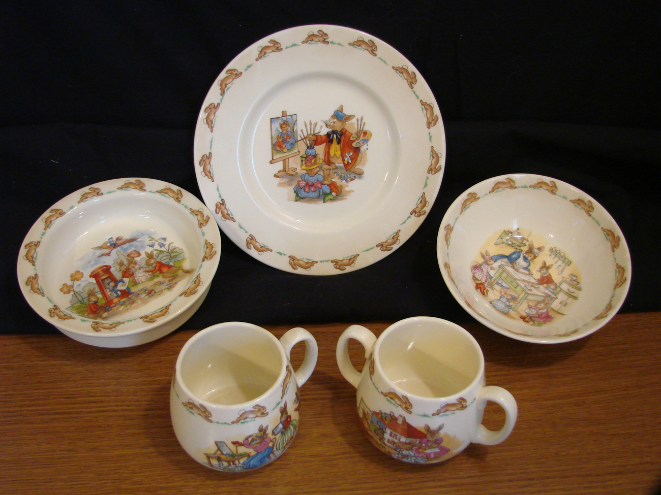 Royal Doulton Bunnykins - Set of 5 Dishes and Cups