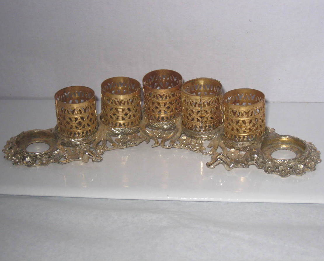 Antique Lipstick and perfume bottle holder with filigree tubes and silver base