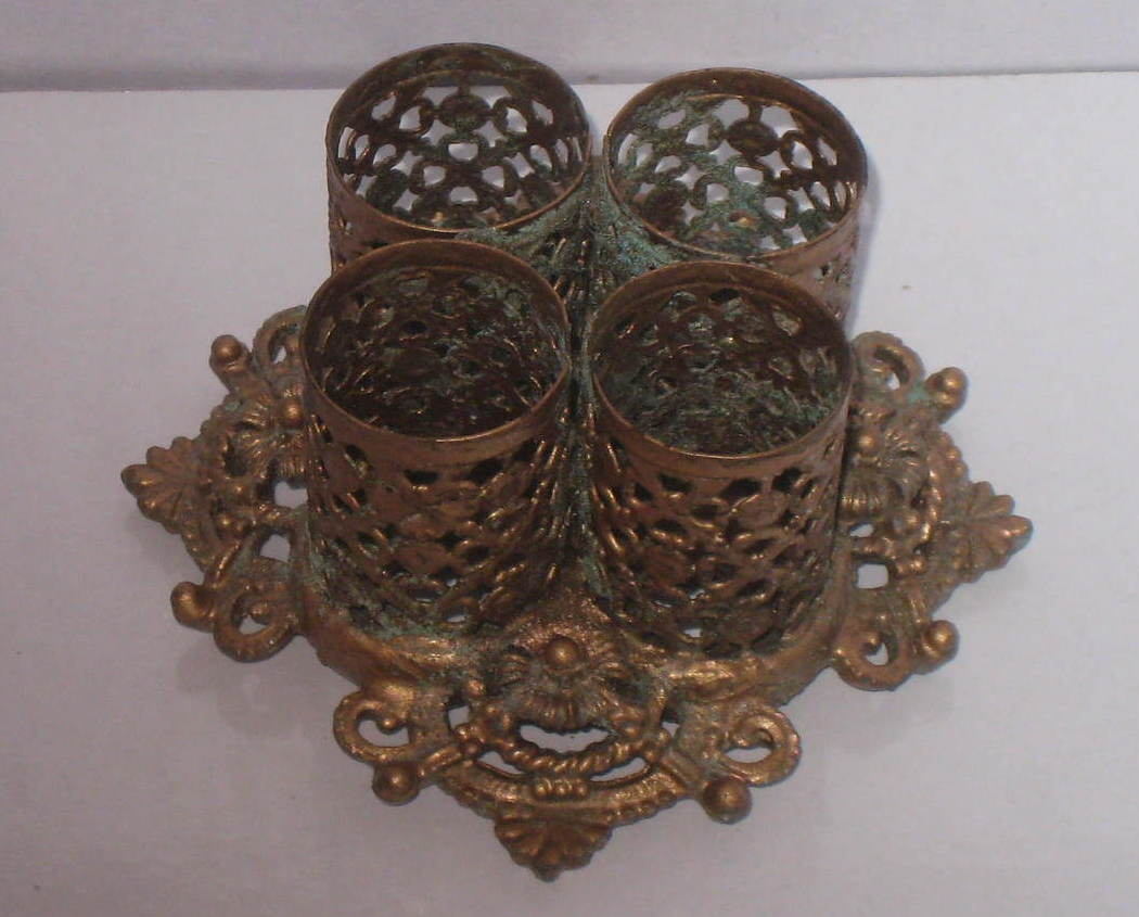 Vintage 1950's lipstick holders, brass base and gold colored