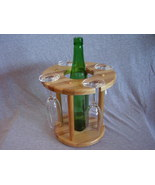 Handmade Hickory & Ash Wood Wine Bottle Glass C... - $35.00