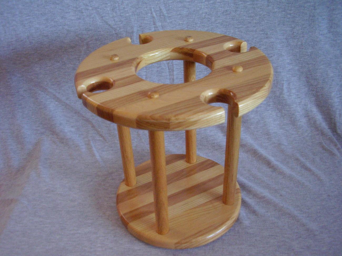 Handmade Hickory & Ash Wood Wine Bottle Glass Caddy Christma