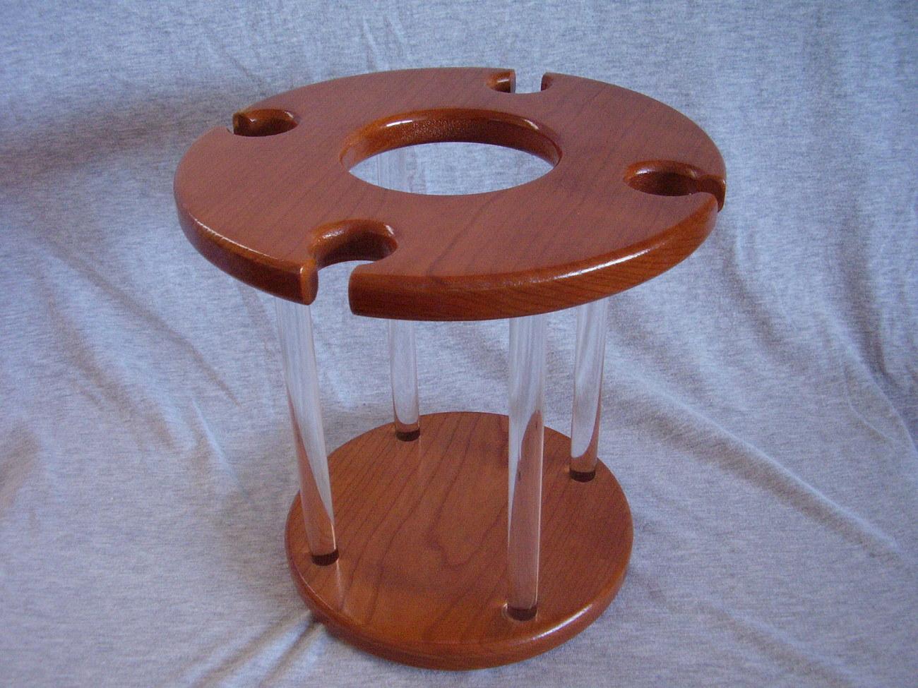 Handmade Cherry Wood & Acrylic Wine Bottle Glass Caddy Chris