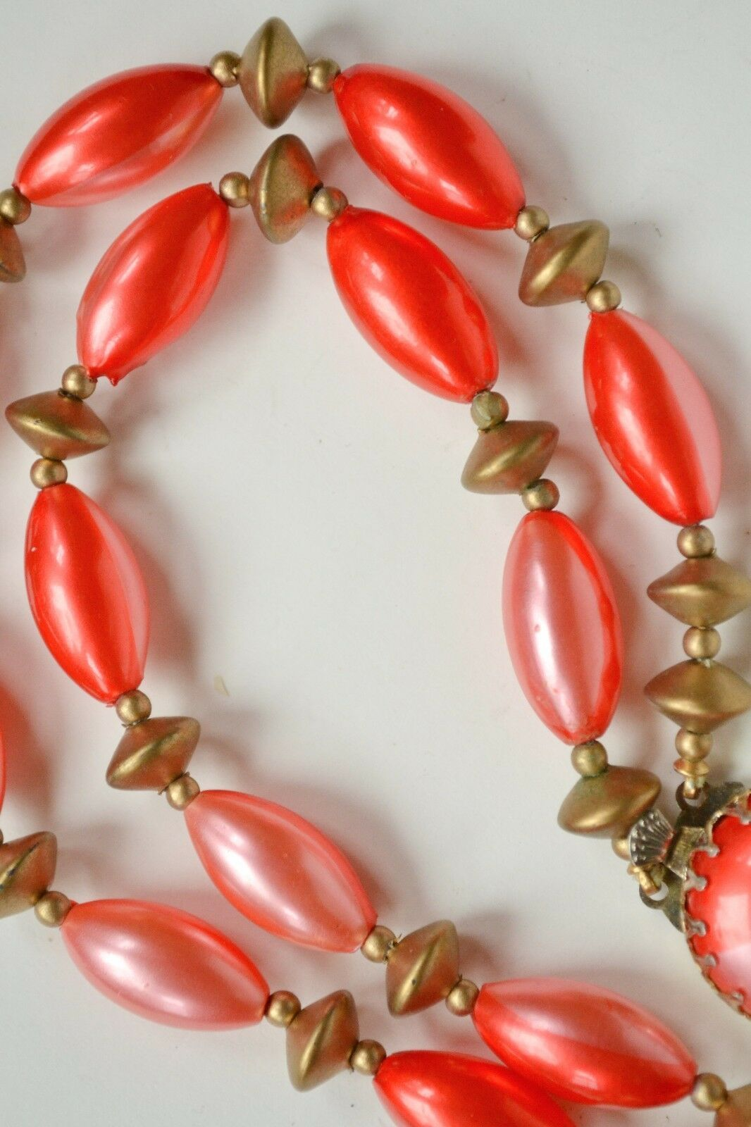 Unique vintage Hong Kong plastic necklace:bicolored pink/red &gold painted beads