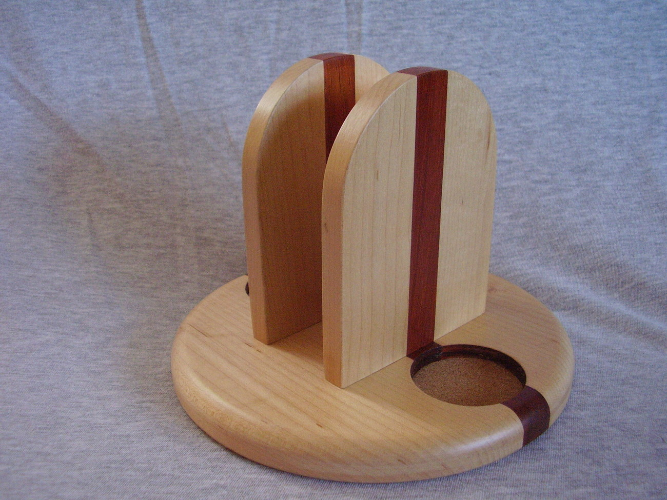 Wood Napkin Salt Pepper Caddy Handmade Maple & Paduak