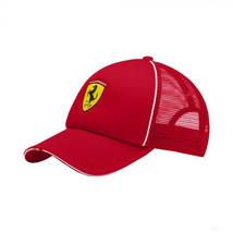 Puma Ferrari Logo Trucker Cap Rosso Corsa Wide Brim Red Strap Back Baseball Hat