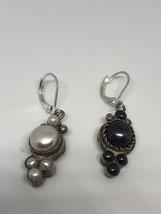 Vintage Genuine Black White Pearl 925 Sterling Silver Earrings - $107.16