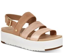 UGG Australia Braelynn Metallic Rose Gold Leather Platform Sandals Size US 6 EUC - $89.10