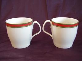 Royal Doulton Ribbon Mugs Set of 2 Red Green Gold  - $24.00