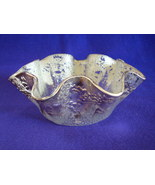 Elegant Cracked Ice Pattern Ruffled Edge Silver Washed Dish - $18.00