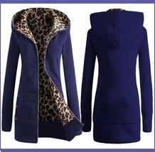 Long Blue Front Zip Up Lined Leopard Print Medium Length Hooded Parka Jacket