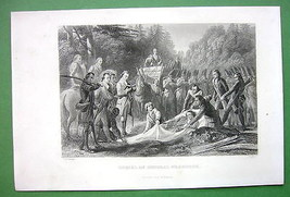 GENERAL BRAQDDOCK Burial in 1755 - 1860s Antique Print - $16.20