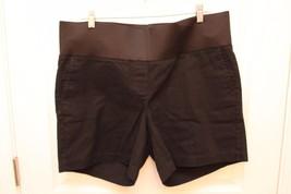 "ANN TAYLOR LOFT Maternity Sz 14 Black Stretch Cotton Chino Shorts 6"" Ins... - $22.74"