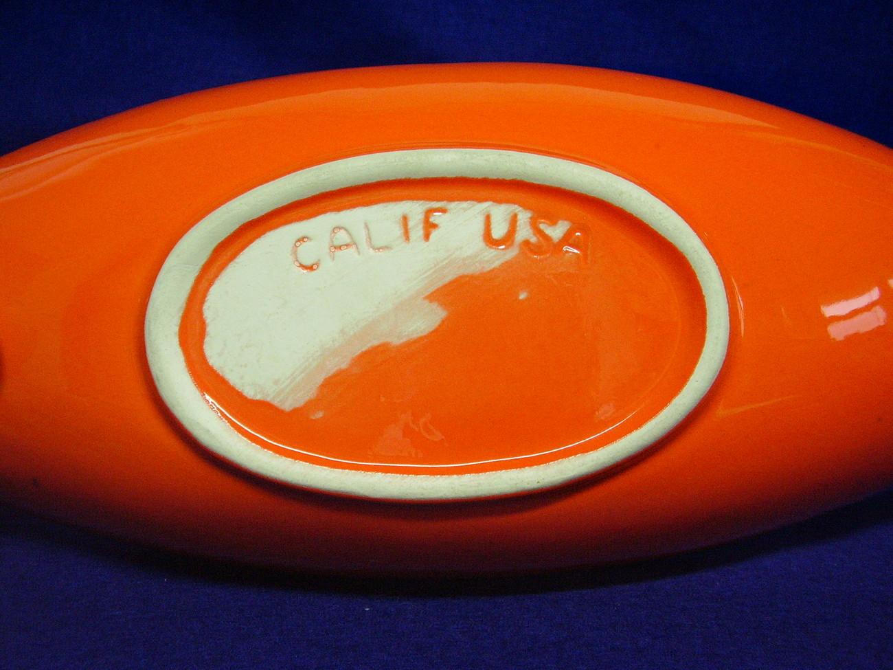 50's Eames California USA Orange Gold Canoe Boat Dish