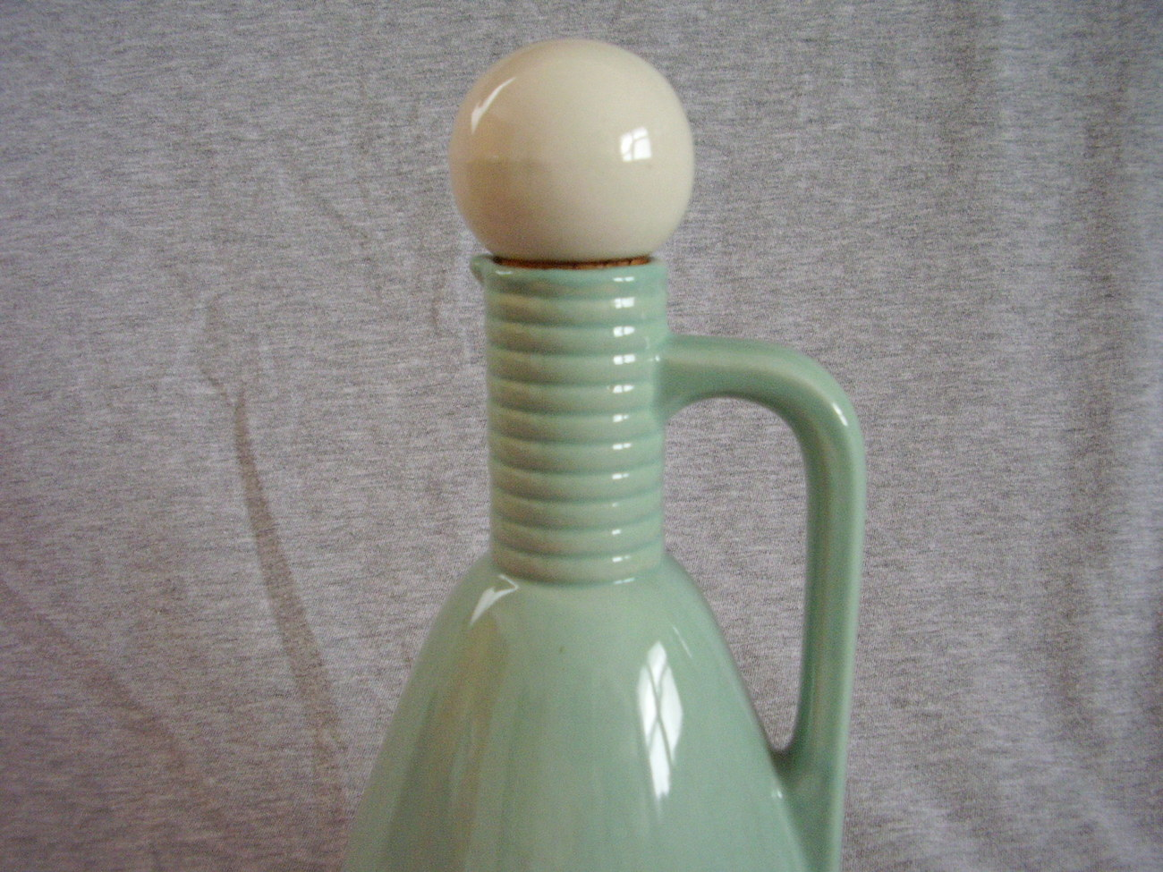 Vintage Handled Cruet Jug Blue Green White Ball Stopper Ring