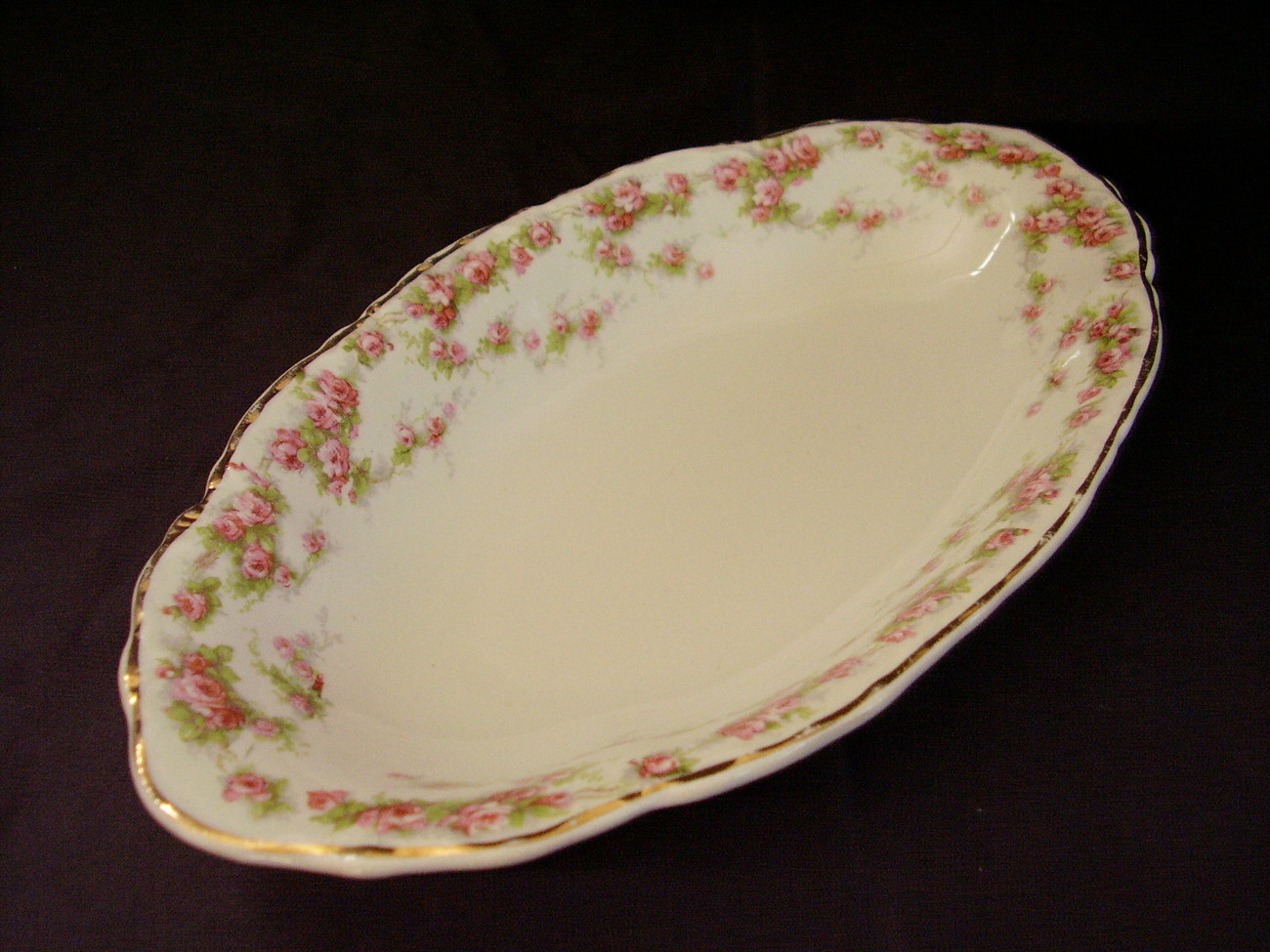 Laughlin Pink Roses Relish Pickle Dish Republic Shape Vintag