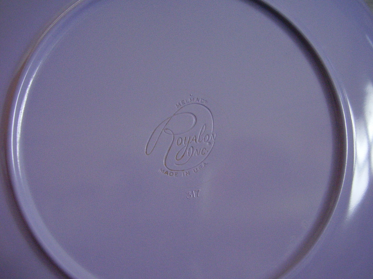 Royalon Melmac Purple Lavender Plastic Divided Serving Bowl