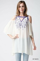 JODIFL COLD SHOULDER TOP  WHITE WITH BLUE  EMBROIDERY  WOMENS NEW - $28.00