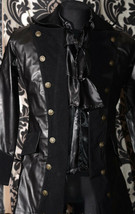 Men's Black Vegan Leather Officer Coat Victorian Goth Vampire Pirate Jacket - $104.77