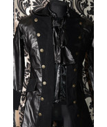 Men's Black Vegan Leather Officer Coat Victorian Goth Vampire Pirate Jacket - $103.95