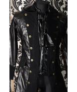 Men's Black Vegan Leather Officer Coat Victorian Goth Vampire Pirate Jacket - $104.77