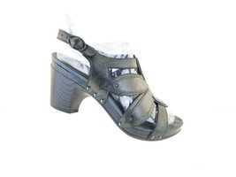 Dansko Black leather Etched Women's Heeled Sandals Sz 39 Us 8.5/9 7707950200 - $35.07