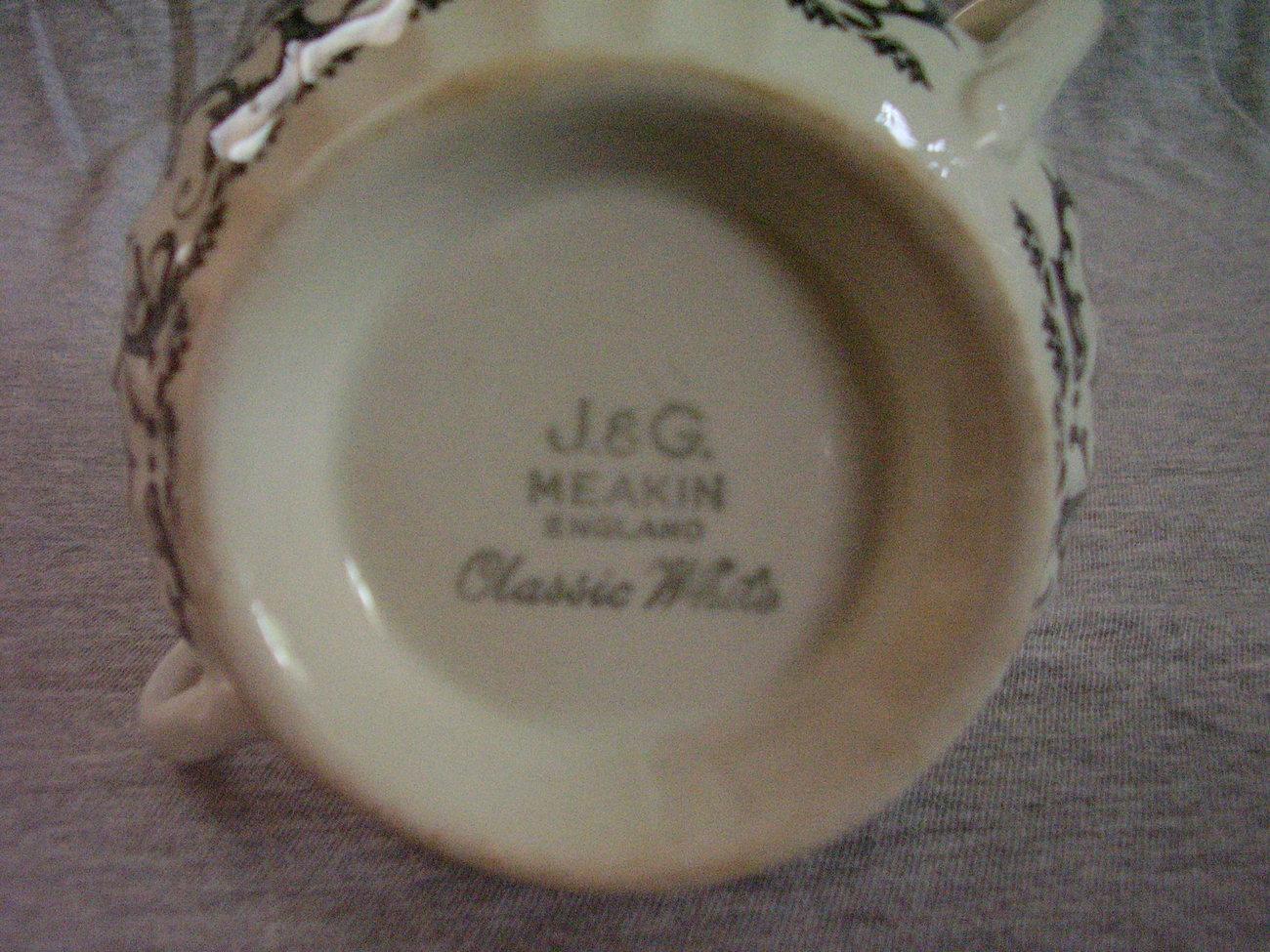 J&G Meakin Classic White Black Grey Covered Sugar Bowl Creamer