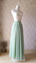 SAGE GREEN Women Tulle Maxi Skirt Sage Green Wedding Tulle Bridesmaid Skirt Maxi image 5