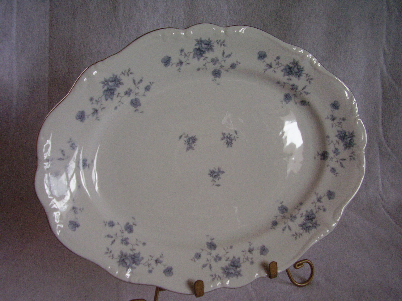 Johann Haviland Blue Garland Platinum Trim Platter