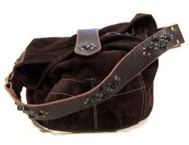 Tylie Malibu Bag Classic Utility Brown Suede Leather w/ Pyramid Stud Acc... - $82.47