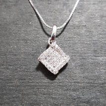 New 14k White Gold On 925 Diamond Shape Pendant Charm with free chain - $32.71