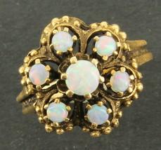 Vintage 14K Gold Australian Opals Deco Victorian Revival Beaded  Ring Pr... - $289.79