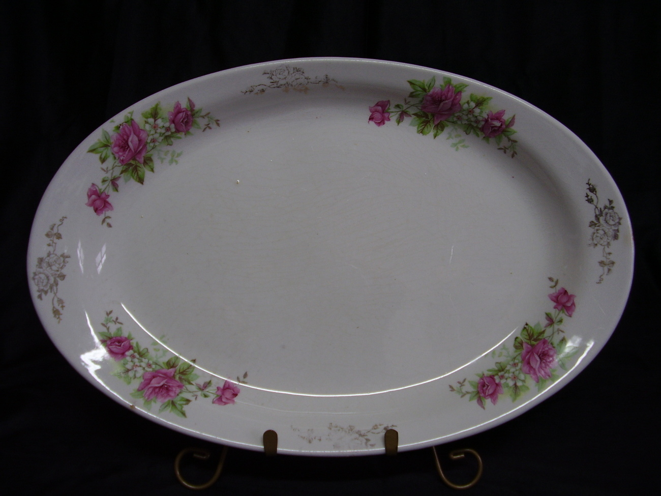 Vintage Homer Laughlin Pink Roses Gold Design Platter