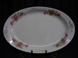Vintage Homer Laughlin Pink Roses Gold Design Platter - $15.00