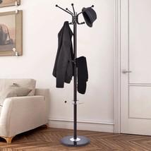 Coat Rack Hat Stand Tree Clothes Hanger Umbrella Holder 12 Hooks Metal O... - $46.74