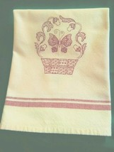 Butterfly and Basket Redwork Embroidered Towel - $7.92