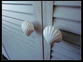 Large Drawer Knobs Shell Dresser Knob White Ceramic Nautical Kitchen Cabinet Kno - $6.50