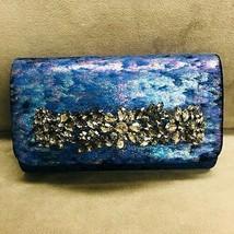 Sondra Roberts Iridescent Crushed Velvet Jeweled Bar Clutch-Navy - $97.02