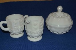 LOT Vintage Westmoreland Milk Glass sugar, creamer, puff bowl lid  Paneled Grape - $19.39