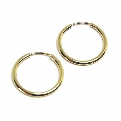 18K YELLOW GOLD ROUND CIRCLE HOOP SMALL EARRINGS DIAMETER 16mm x 1.2mm, ITALY