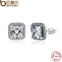 BAMOER 100% 925 Sterling Silver Asscher Cut CZ Zirconia Small Stud Earri... - $19.06