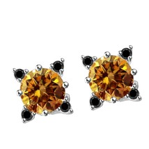 2/5Ct Brown & Black Moissanite 18K White Gold Over Solitaire Stud Earrin... - $66.99