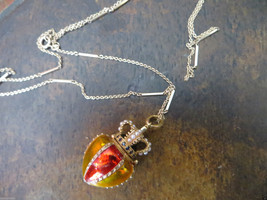 """Old Crown Box Sterling Enamel w/ Real Stones/Seeds Pearl necklace chain 32"""" - $299.99"""