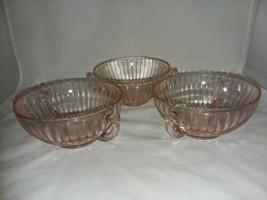 Macbeth Evans Petalware Pink Depression Glass 3 Cream Soup Bowls 2 Handl... - $29.99
