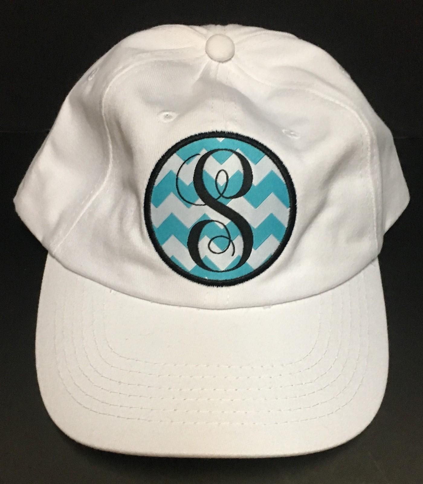 White Denim Cap Hat Monogrammed Adult One Size Velcro Adj. Various Initials