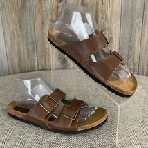 American Eagle Sandals Women's 7.5 Brown Faux Leather Molded Footbed Slip-On - $11.14