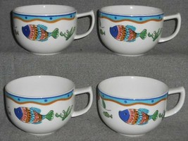 Set (4) MIKASA Fashion Plate OCEAN COLLAGE PATTERN Handled Cups - $15.83